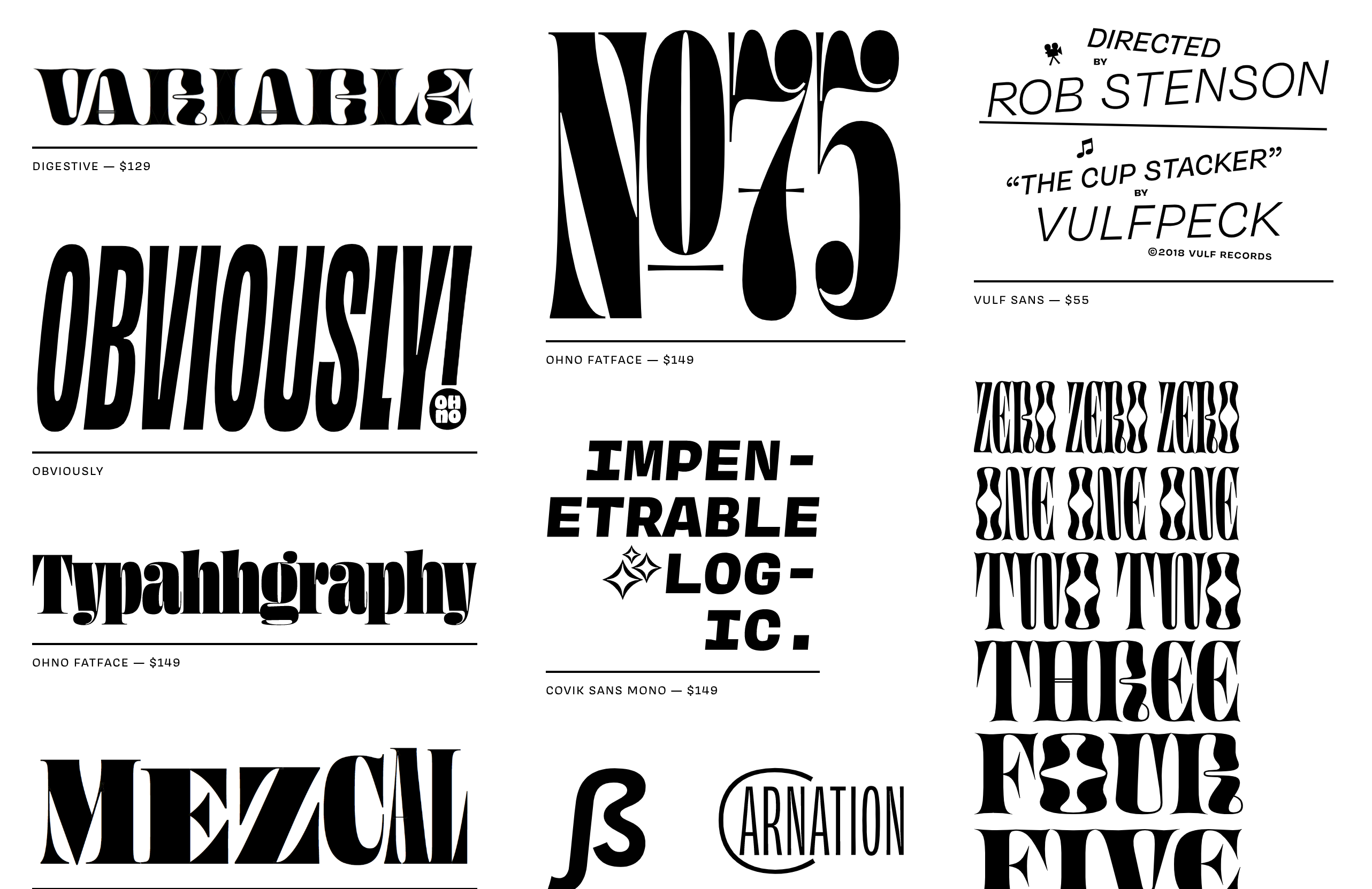 A selection of typefaces by James Edmondson and OH NO Type Co
