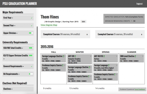 Interactive Degree Planner