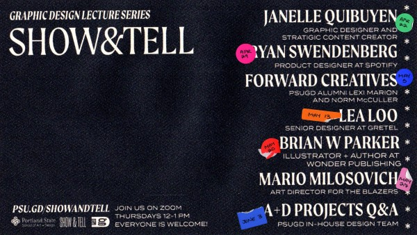 The Show & Tell Lecture Series' Spring 2021 is here! Check out psu.gd/showandtell for the full lineup and to see speakers every Thursday at noon starting April 22.