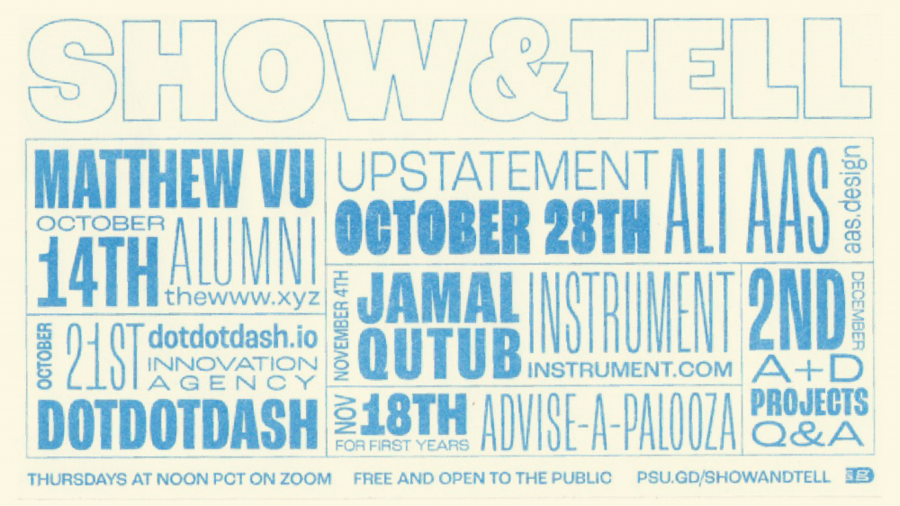 Show & Tell returns for fall on October 14! Join us online at psu.gd/showandtell! Free and open to the public!